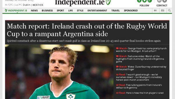 """La prensa irlandesa destaca """"el lado agresivo"""" de Los Pumas"""