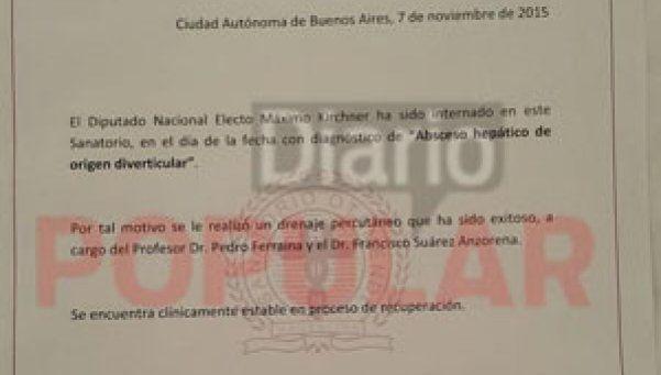 El diagnóstico de Máximo Kirchner: absceso hepático