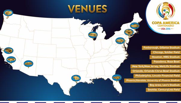 Ya están las 10 sedes de la Copa América Centenario