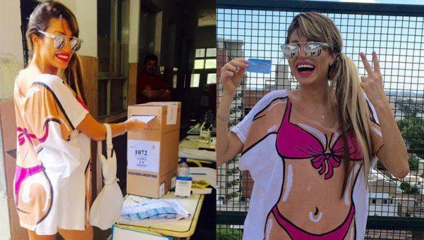 El insólito look de Vicky Xipolitakis para votar