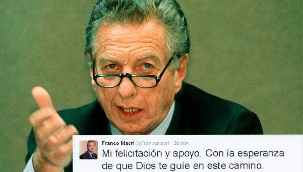 Franco Macri felicitó a su hijo Mauricio por la asunción