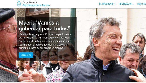 El cambio también llegó a la web: Cristina, Macri y la Rosada