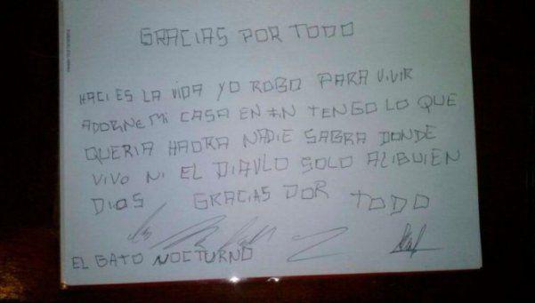 Ladrón dejaba cartas de agradecimiento a sus víctimas