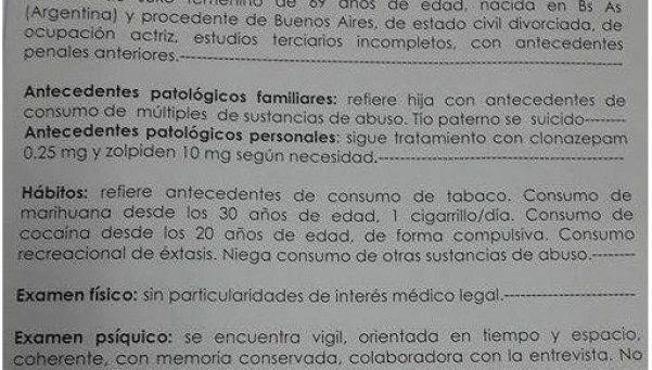 El informe psiquiátrico de Moria dice que consume cocaína, éxtasis y marihuana