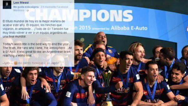 Después de levantar la Copa, Messi le dedicó un mensaje a River