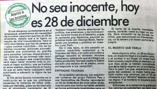 Noti retro: No sea inocente, hoy es 28 de diciembre