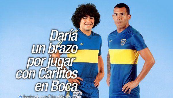 Maradona: Daría un brazo por jugar con Tevez en Boca