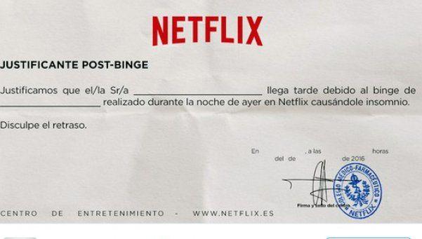 Netflix idea insólito justificante laboral para seriólogos