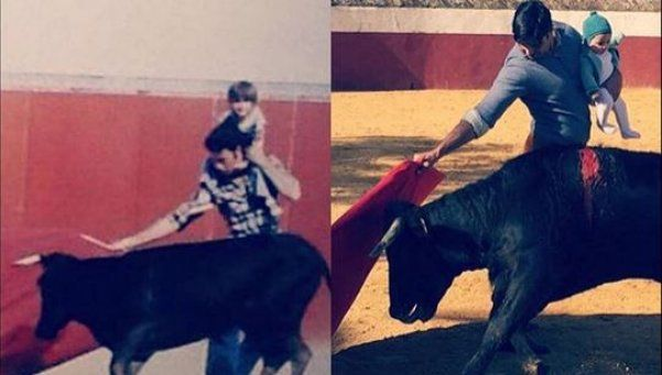 Polémica por foto de torero practicando con su beba en brazos