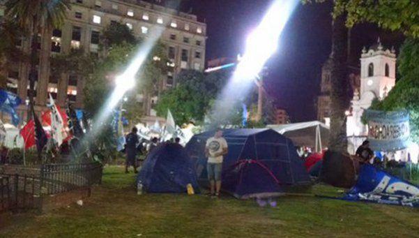 Un campamento en Plaza de Mayo por la liberación de Milagro Sala