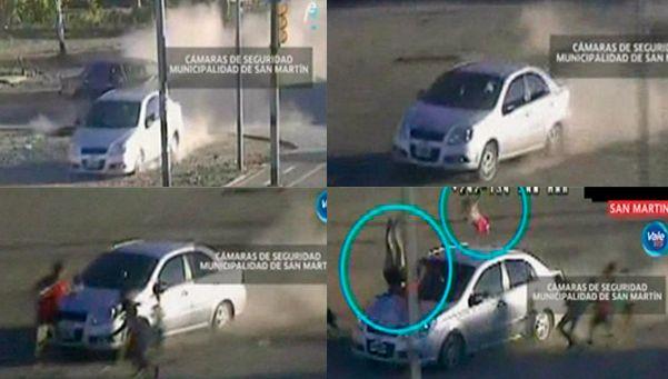 Video: robaron auto y en la fuga atropellaron a una mujer y a su beba