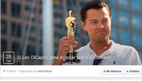 Llaman a marchar al Obelisco si DiCaprio gana el Oscar