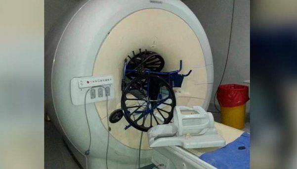 Sospechan sabotaje por silla incrustada en resonador magnético del Posadas