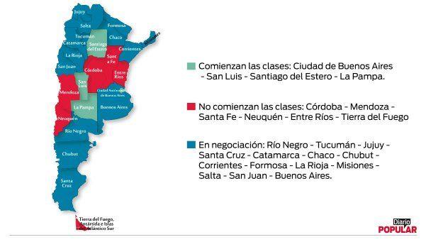 Mapa | En qué provincias comienzan las clases y en cuáles no