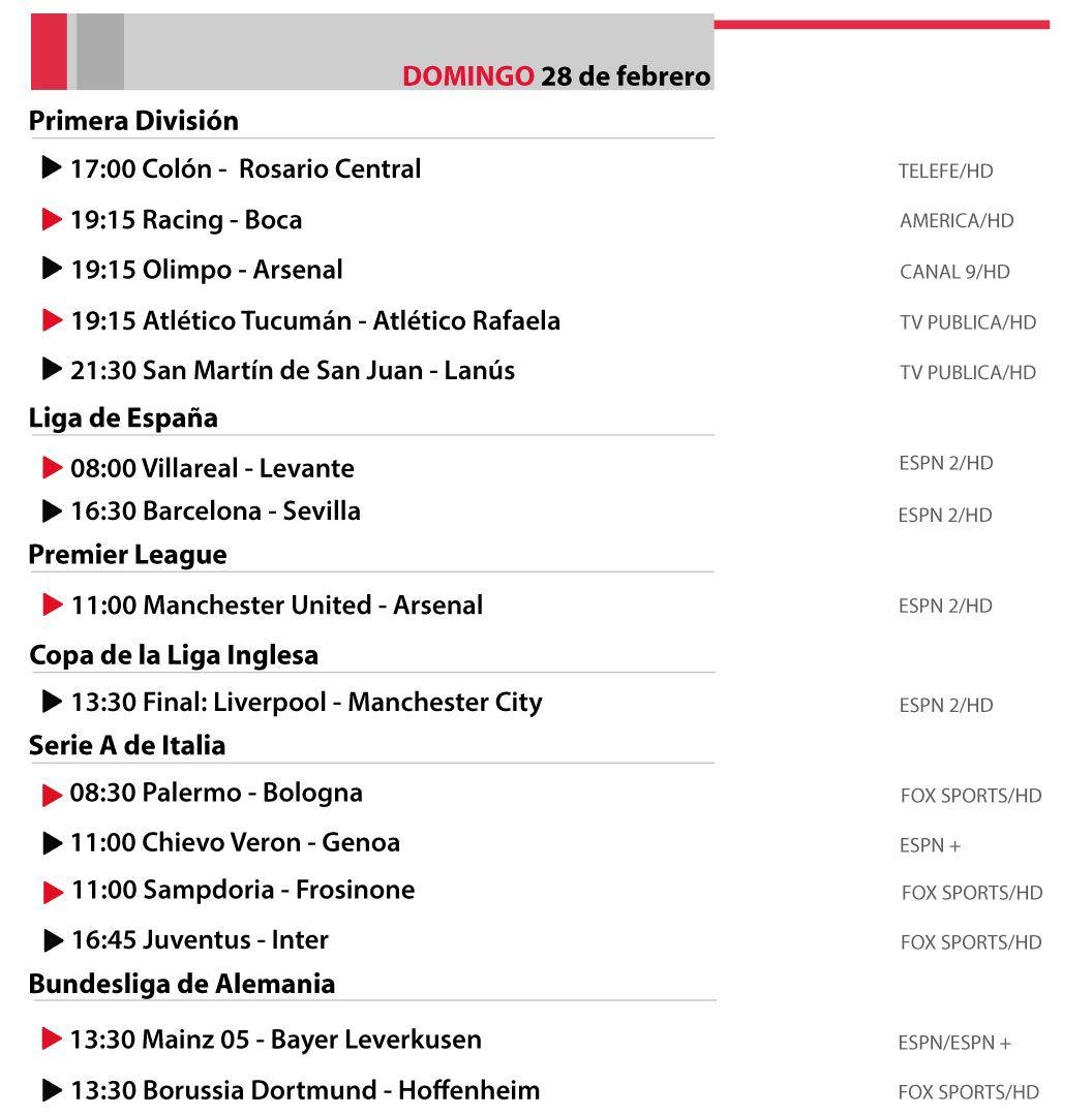 Programación | La agenda de un domingo a puro fútbol