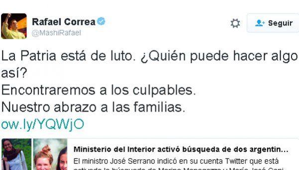 Correa se solidarizó con las familias de las argentinas asesinadas