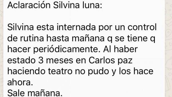 Silvina Luna está internada