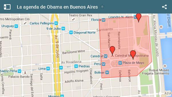 Mapa | Estaciones de subte y calles restringidas por la visita de Obama
