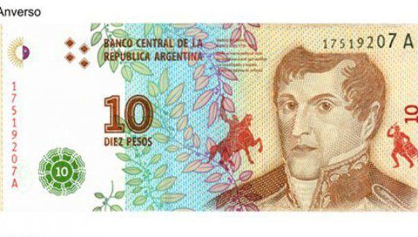 El nuevo billete de 10 pesos ya tiene diseño y comienza a circular