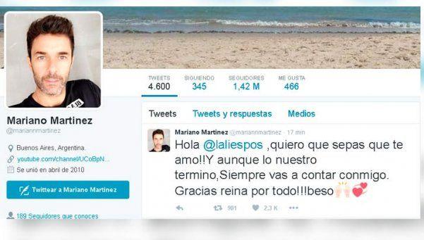 """Mariano Martínez: """"Lali, quiero que sepas que te amo"""""""