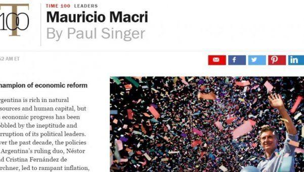 Macri, en el top 100 de Time y campeón de la reforma económica