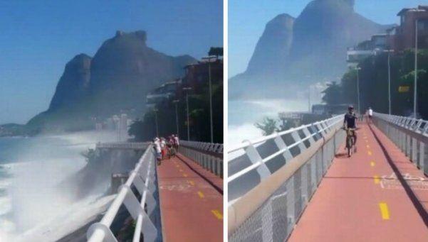 Una ola gigante derrumbó una ciclovía en Brasil: dos muertos y heridos