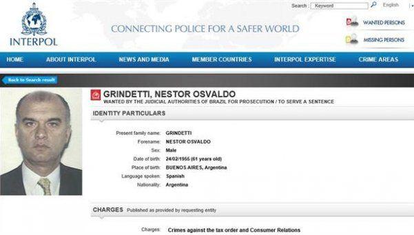 Grindetti estuvo en la lista de buscados por Interpol