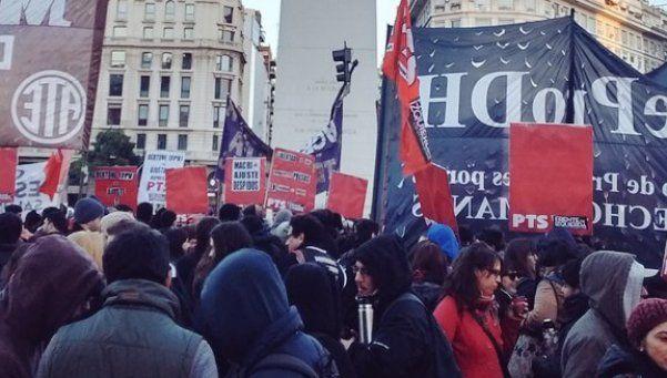 Protesta en el Obelisco por la liberación de gremialistas de Tierra del Fuego