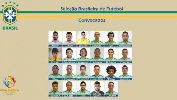 Sin Neymar, Brasil presentó la lista para la Copa América