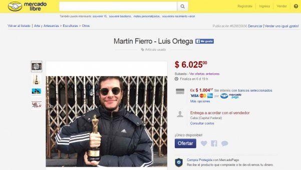 Insólito: ganador de un Martín Fierro subasta su estatuilla en Mercado Libre
