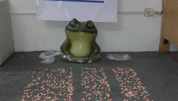 Escondían la droga en un sapo de yeso