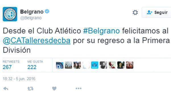 ¿Y si comparten un fernet? Belgrano felicitó a Talleres por el ascenso