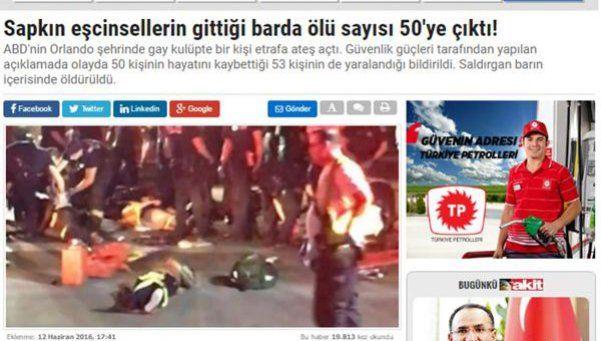 Diario turco celebró la matanza en Orlando