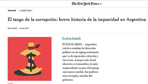 El tango de la corrupción, la dura columna publicada en NYT