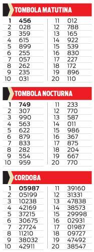 TOMBOLA MATUTINA Y NOCTURNA, CORDOBA