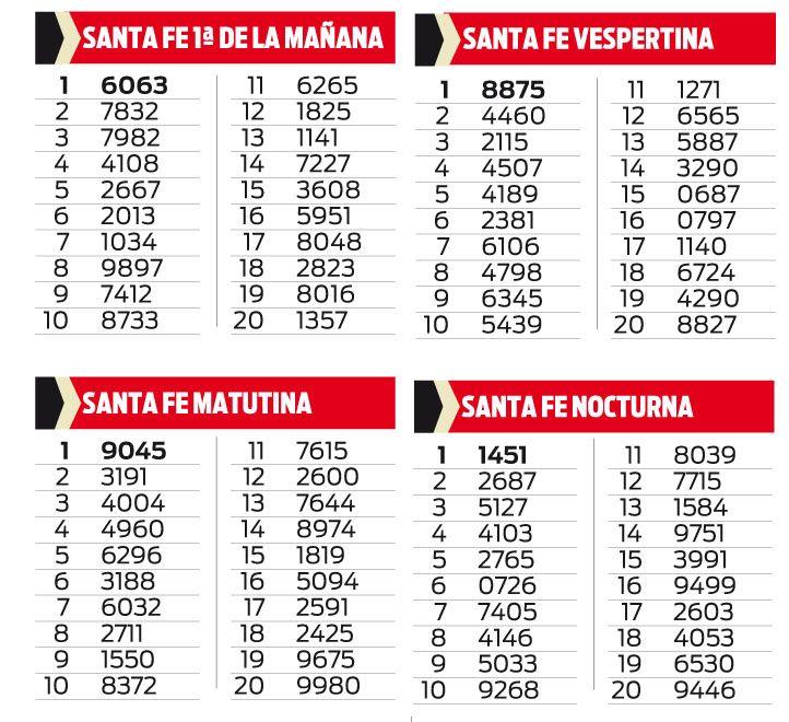 SANTA FE PRIMERA DE LA MAÑANA, MATUTINA, VESPERTINA Y NOCTURNA