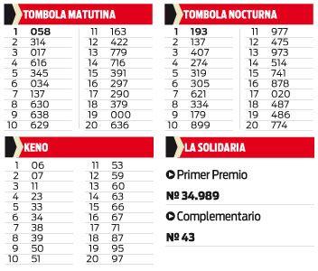 TOMBOLA MATUTINA Y NOCTURNA- KENO Y SOLIDARIA