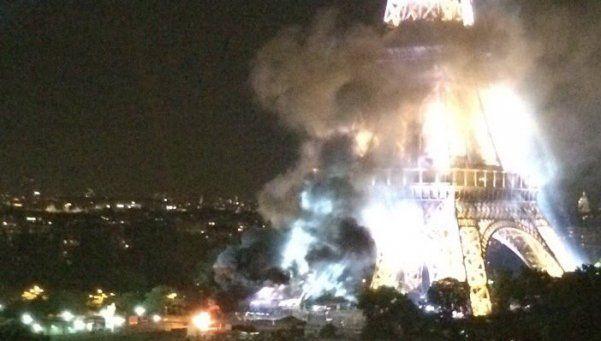 Francia no tiene paz: incendio en la Torre Eiffel