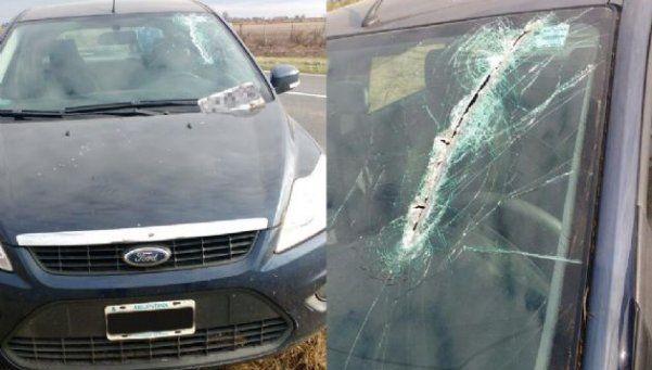Patente de un auto voló y casi decapita a una mujer