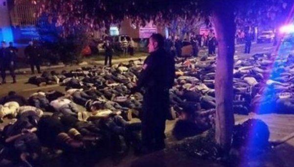 Piedrazos,  tiros, heridos y 107 detenidos