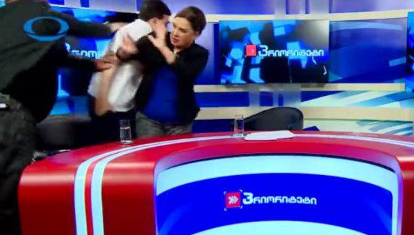 Video | Debate político en TV termina a los golpes en Georgia