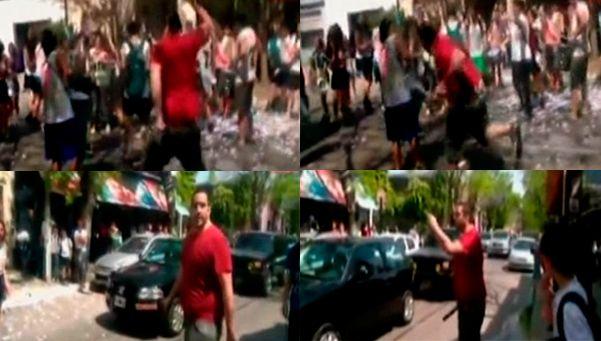 Video | Atacó con un palo a estudiantes que festejaban en Pilar
