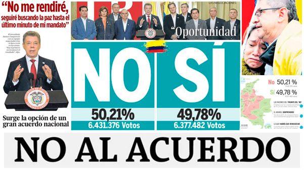 ¿Cómo reflejaron los diarios colombianos el No a la paz?