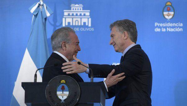 """Macri y Temer en Olivos: agenda común y """"fortalecer el Mercosur"""""""