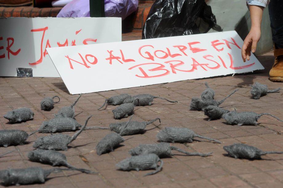 """Fotos   """"Ratas"""" y carteles contra Temer"""