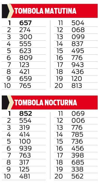 TOMBOLA MATUTINA Y NOCTURNA