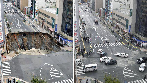 Japón: un agujero se tragó una avenida y la arreglaron en dos días