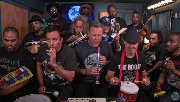 """Metallica, Jimmy Fallon y una increíble versión de """"Enter Sandman"""""""