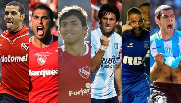 6 figuras de los últimos Racing-Independiente