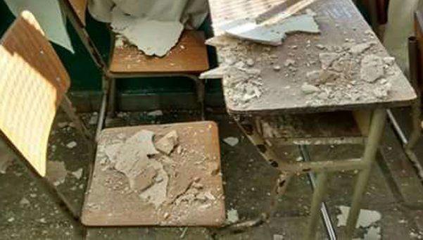 Cayó parte del techo de una escuela en estado calamitoso